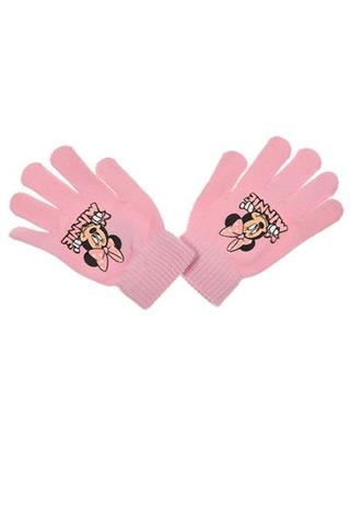 Light pink gloves, 5 fingers, clothing for the winter under Disney Minnie license.